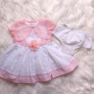 Pink and white dress with bloomers